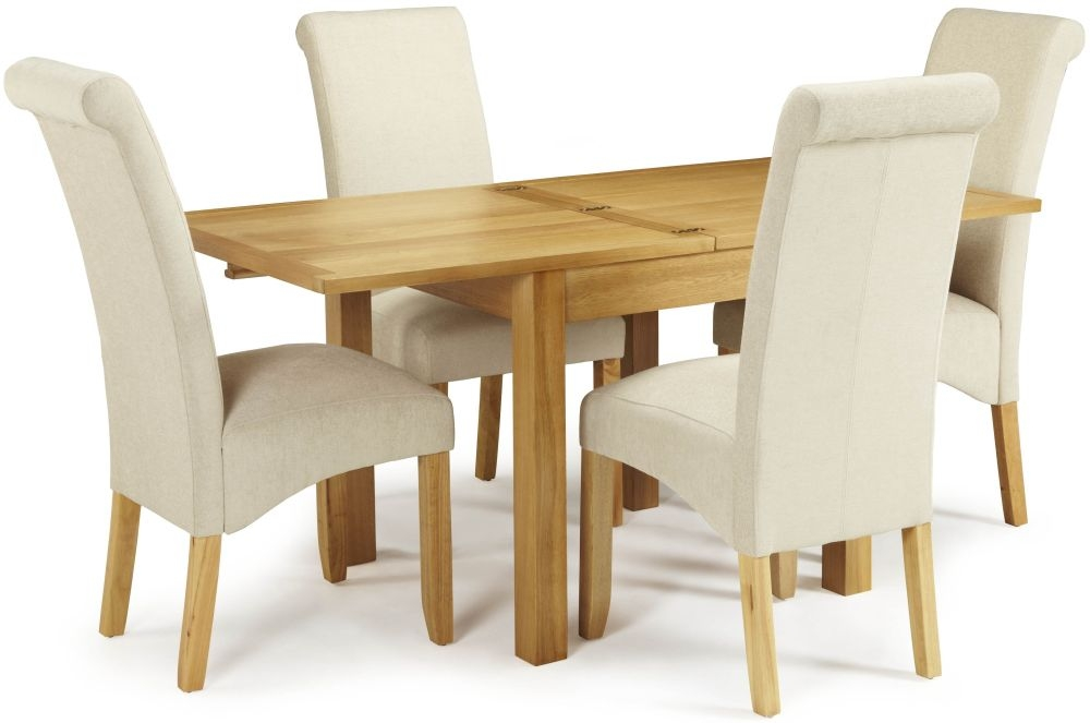Serene Lambeth Oak Dining Set - Extending with 4 Kingston Cream Plain Chairs