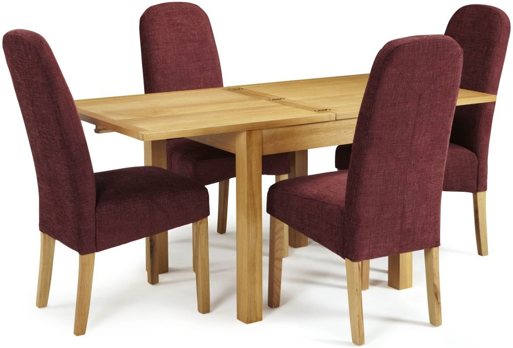 Serene Lambeth Oak Dining Set - Extending with 4 Marlow Shiraz Chairs