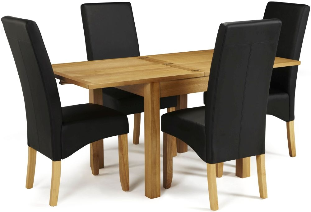 Serene Lambeth Oak Dining Set - Extending with 4 Merton Black Faux Leather Chairs