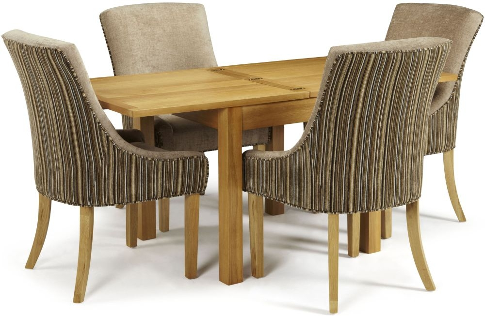 Serene Lambeth Oak Dining Set - Extending with 4 Richmond Sand Mink Chairs