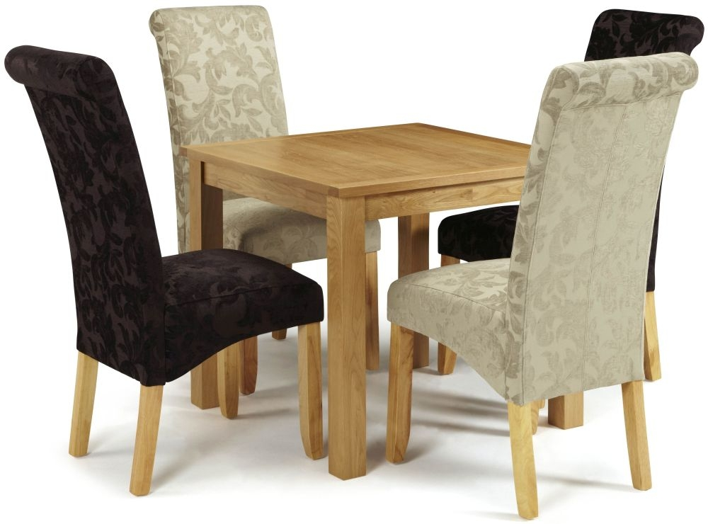 Serene Lambeth Oak Square Fixed Top Dining Set with 2 Kingston Aubergine Floral and 2 Sage Floral Chairs - 82cm