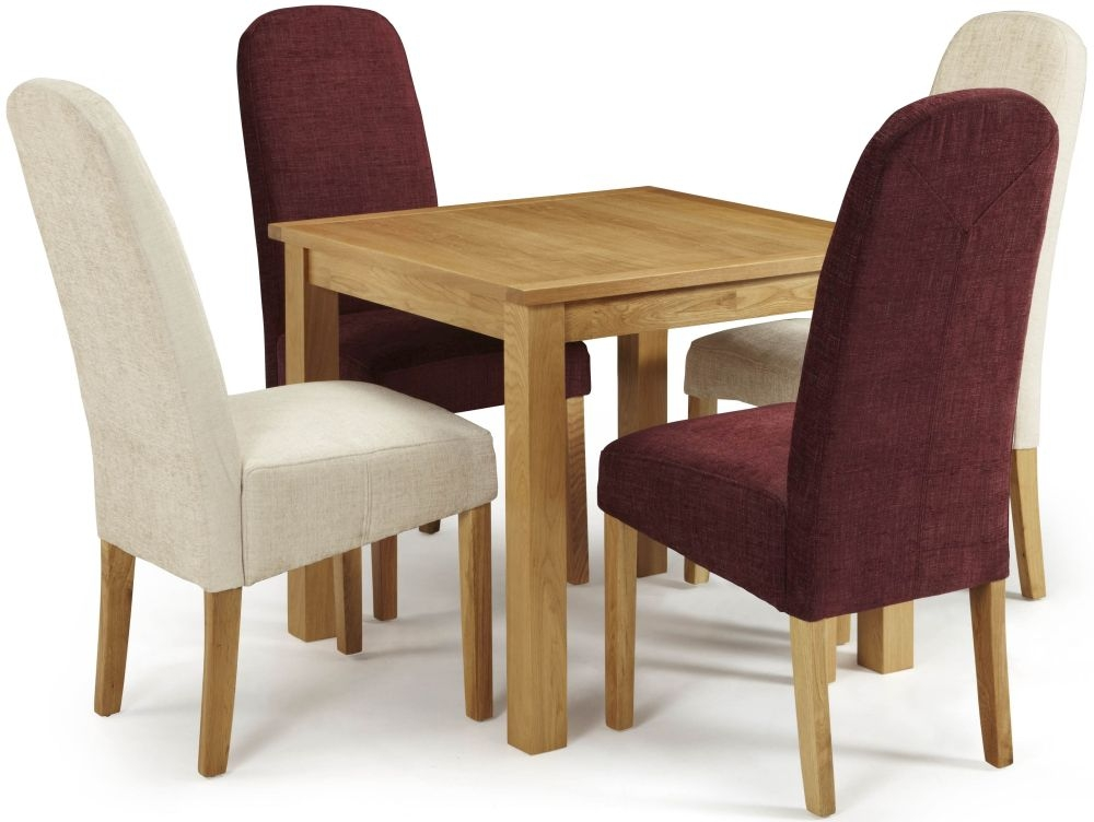 Serene Lambeth Oak Dining Set - Fixed Top with 2 Marlow Shiraz and 2 Pearl Chairs