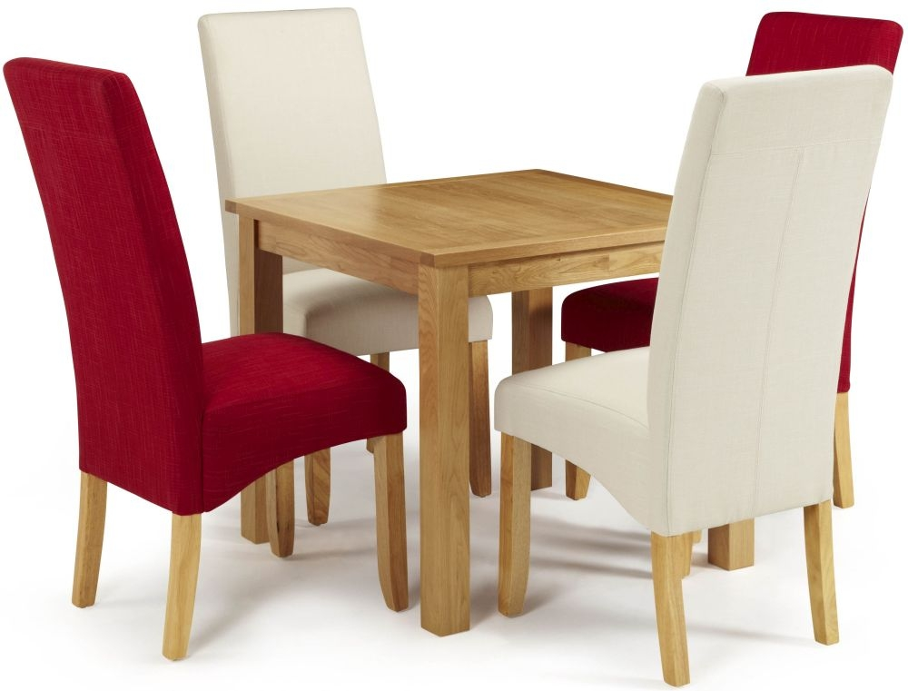 Serene Lambeth Oak Dining Set - Fixed Top with 2 Merton Scarlet and 2 Putty Chairs