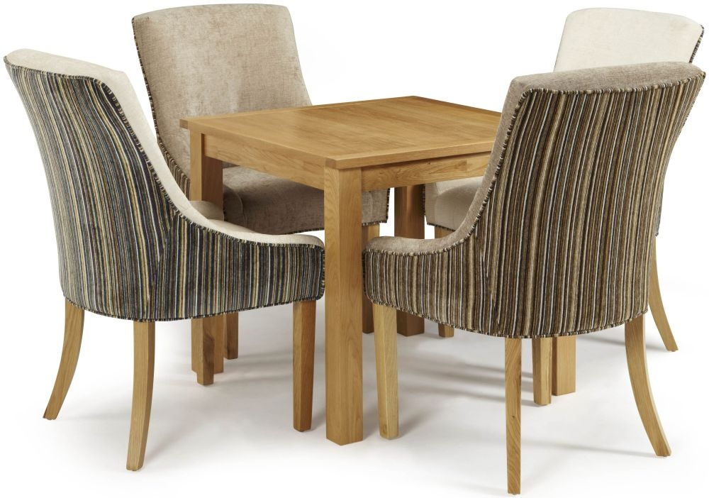 Serene Lambeth Oak Dining Set - Fixed Top with 2 Richmond Aubergine Pearl and 2 Sand Mink Chairs