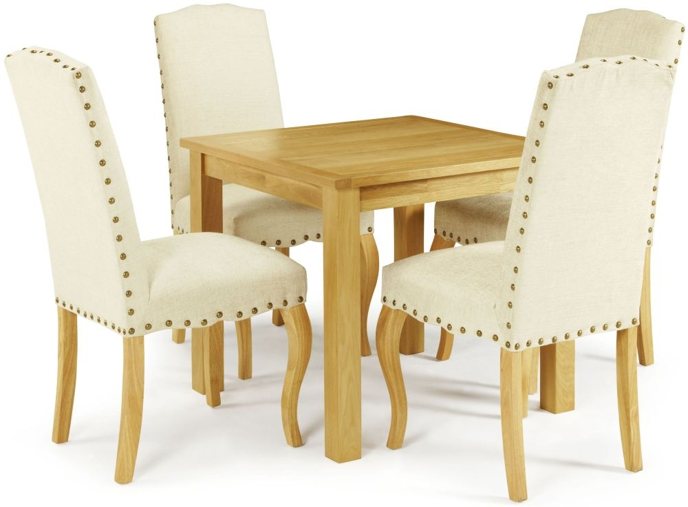 Serene Lambeth Oak Dining Set - Fixed Top with 4 Kensington Pearl Chairs