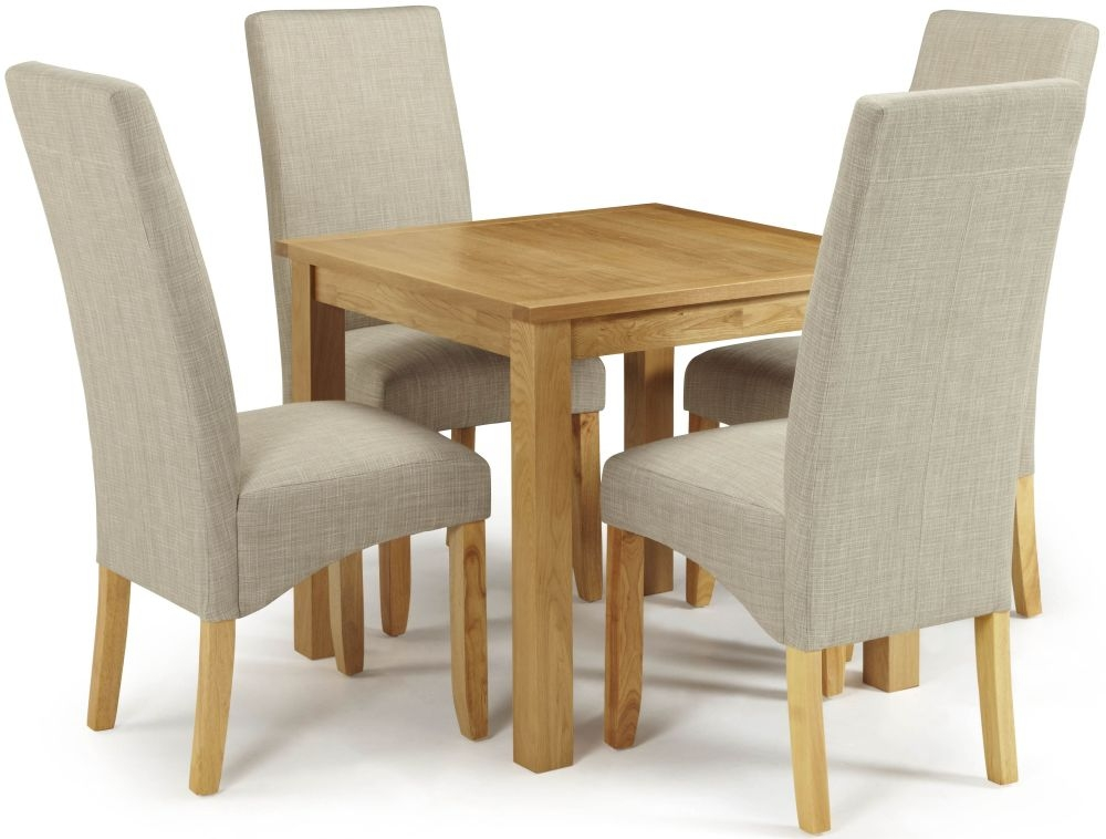 Serene Lambeth Oak Dining Set - Fixed Top with 4 Merton Linen Chairs