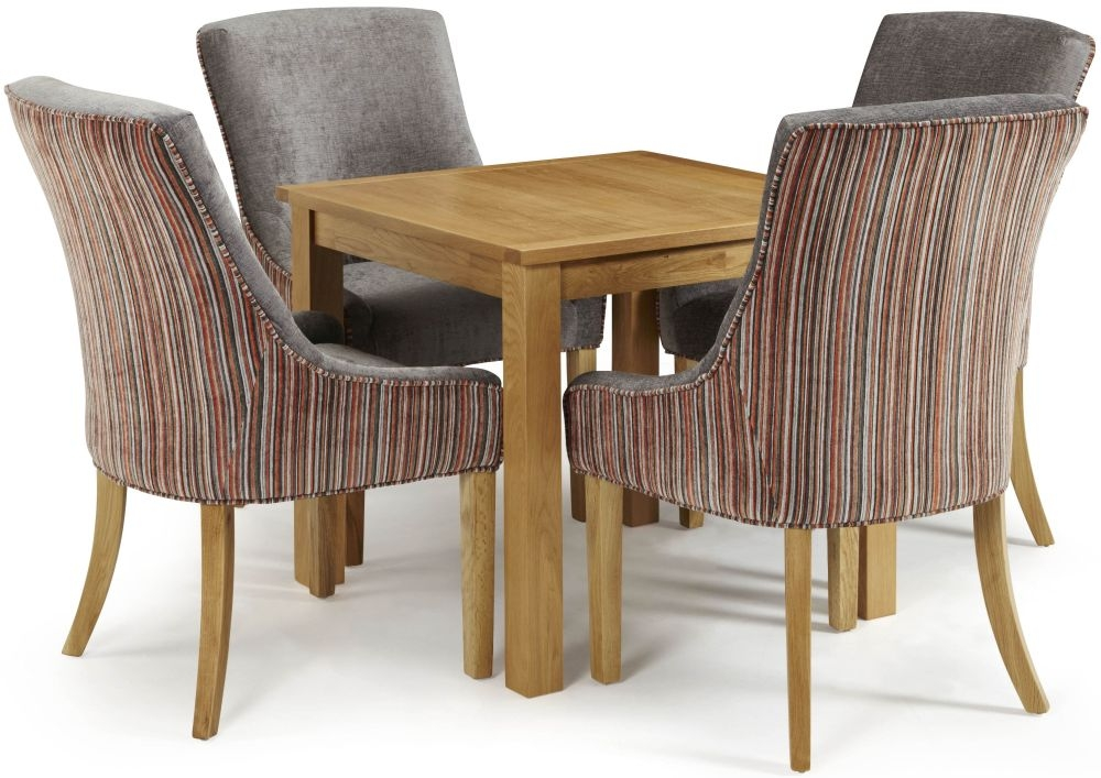 Serene Lambeth Oak Dining Set - Fixed Top with 4 Richmond Orange Steel Chairs