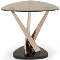 Serene Larissa Lamp Table - Smoked Glass and Rose Gold
