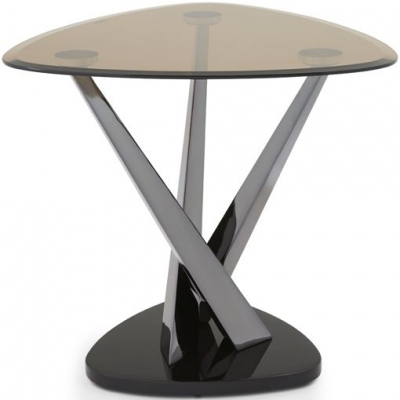 Serene Larissa Black Nickel and Smoked Glass Lamp Table