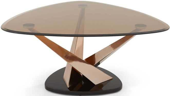 Serene Larissa Coffee Table - Smoked Glass and Rose Gold