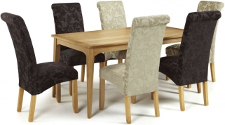 Serene Lewisham Oak Dining Set - 180cm with 3 Kingston Aubergine Floral and 3 Sage Floral Chairs