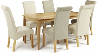 Serene Lewisham Oak Dining Set - 180cm with 3 Kingston Cream Plain and 3 Sage Plain Chairs