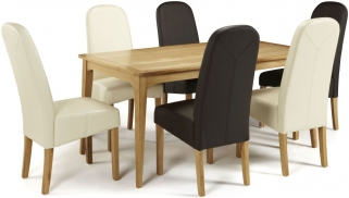 Serene Lewisham Oak Dining Set - 180cm with 3 Marlow Brown and 3 Cream Faux Leather Chairs