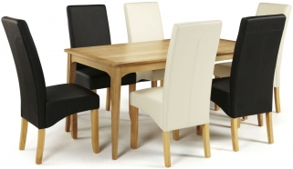 Serene Lewisham Oak Dining Set - 180cm with 3 Merton Black and 3 Cream Faux Leather Chairs