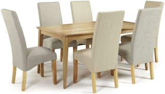 Serene Lewisham Oak Dining Set - 180cm with 3 Merton Linen and 3 Stone Chairs