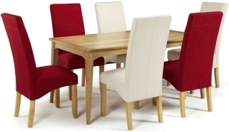 Serene Lewisham Oak Dining Set - 180cm with 3 Merton Scarlet and 3 Putty Chairs