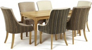 Serene Lewisham Oak Dining Set - 180cm with 3 Richmond Aubergine Pearl and 3 Sand Mink Chairs
