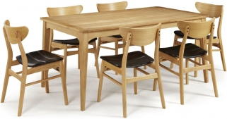 Serene Lewisham Oak Dining Set - 180cm with 6 Camden Oak Chairs