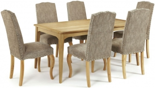 Serene Lewisham Oak Dining Set - 180cm with 6 Kensington Bark Chairs