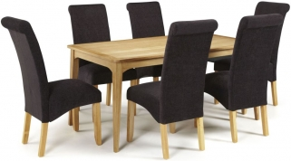 Serene Lewisham Oak Dining Set - 180cm with 6 Kingston Aubergine Plain Chairs