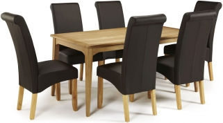 Serene Lewisham Oak Dining Set - 180cm with 6 Kingston Brown Faux Leather Chairs
