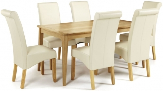 Serene Lewisham Oak Dining Set - 180cm with 6 Kingston Cream Faux Leather Chairs