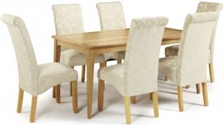 Serene Lewisham Oak Dining Set - 180cm with 6 Kingston Cream Floral Chairs