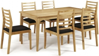 Serene Lewisham Oak Dining Set - 180cm with 6 Lewisham Chairs