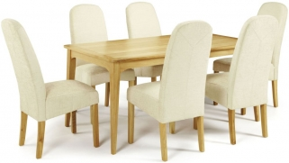 Serene Lewisham Oak Dining Set - 180cm with 6 Marlow Pearl Chairs
