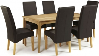 Serene Lewisham Oak Dining Set - 180cm with 6 Merton Brown Faux Leather Chairs
