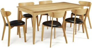 Serene Lewisham Oak Dining Set - 180cm with 6 Newham Chairs