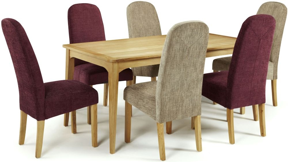 Serene Lewisham Oak Dining Set - 180cm with 3 Marlow Shiraz and 3 Bark Chairs