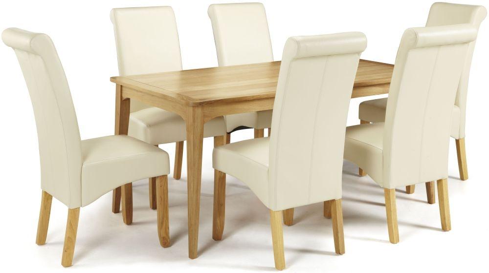 Serene Lewisham Oak Dining Set - 180cm with 6 Kingston Cream Faux Leather Chairs