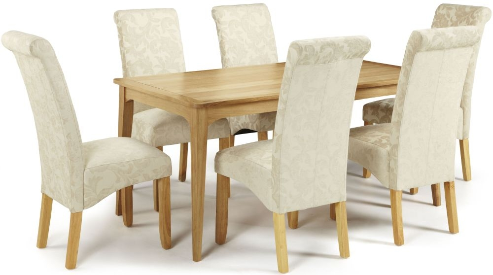 Serene Lewisham Oak Dining Set - 180cm with 6 Kingston Cream Floral Chairs