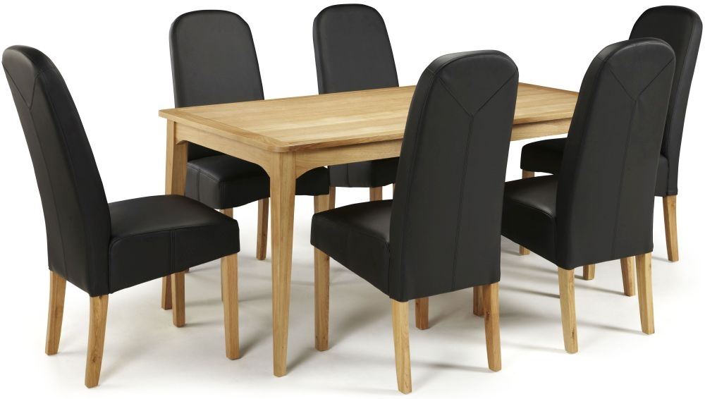 Serene Lewisham Oak Dining Set - 180cm with 6 Marlow Black Faux Leather Chairs