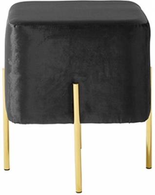 Serene Madelyn Black and Gold Velvet Fabric Stool