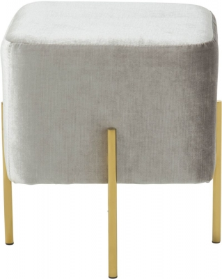 Serene Madelyn Grey and Gold Velvet Fabric Stool