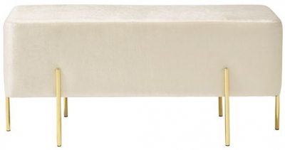 Serene Madelyn White and Silver Velvet Fabric Bench