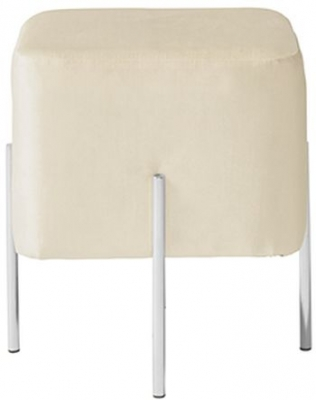 Serene Madelyn White and Silver Velvet Fabric Stool