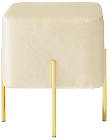 Serene Madelyn White and Gold Velvet Fabric Stool