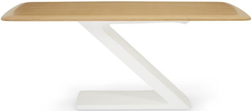 Serene Madrid High Gloss White and Oak Rectangular Top Dining Table - 180cm