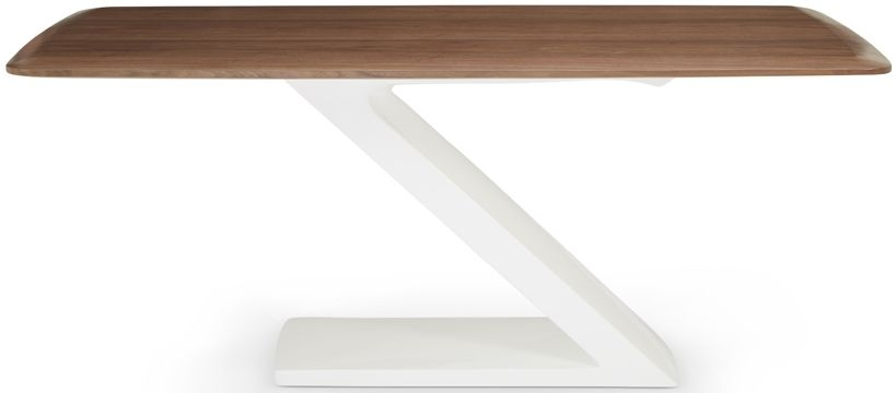 Serene Madrid High Gloss White and Walnut Rectangular Top Dining Table - 180cm