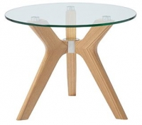 Serene Marbella Round Lamp Table - Glass and Oak