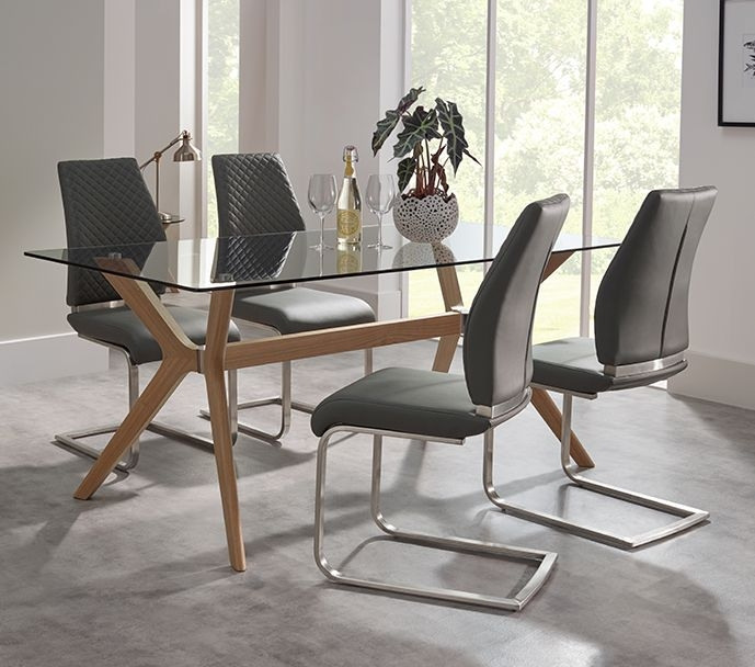 Serene Marbella Glass Dining Table and 4 Granada Chairs - Oak and Black
