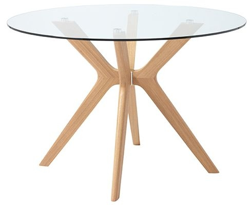 Serene Marbella Round Dining Table - Glass and Oak