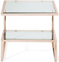 Serene Mera Rose Gold and Glass Lamp Table