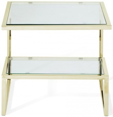 Serene Mera Lamp Table - Glass and Gold