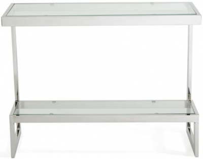 Serene Mera Console Table - Glass and Chrome