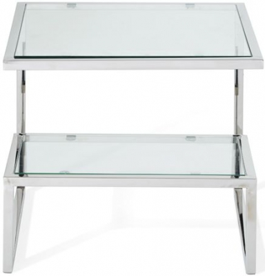 Serene Mera Lamp Table - Glass and Chrome