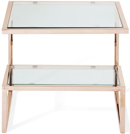 Serene Mera Lamp Table - Glass and Rose Gold